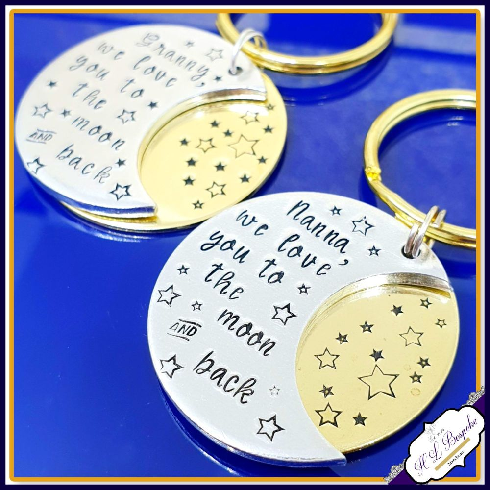 Personalised Nanna Moon & Back Keyring - Daddy Father's Day Keyring Gift -