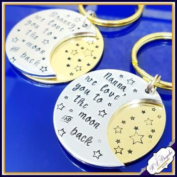 Personalised Nanna Moon & Back Keyring - Daddy Father's Day Keyring Gift - Mother's Day Mummy Moon And Back Gift - Grandma Mother's Day Gift