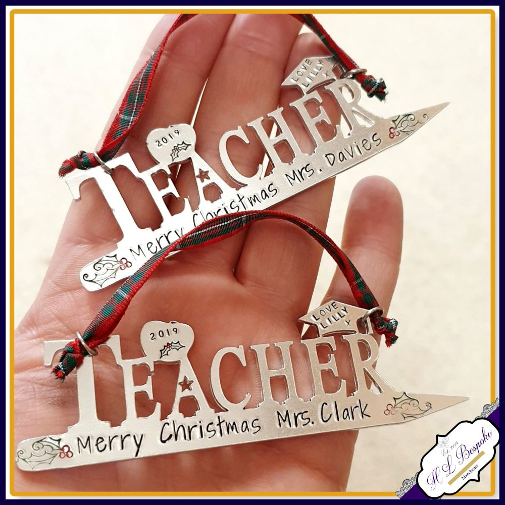 Personalised Teacher Christmas Gift - Tree Decoration For Teacher - Unique