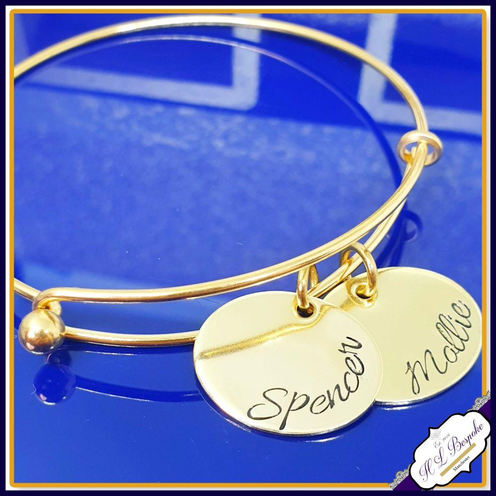 Personalised Rose Gold Bangle Or Gold Bangle - YOU CHOOSE WORDING - Mothers