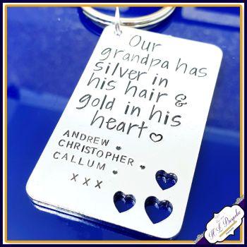 Personalised Grandad Gift - Grandad Keyring - Silver In His Hair Gold In His Heart - Grandpa Gift - Our Grandad Rocks - Special Grandad Gift