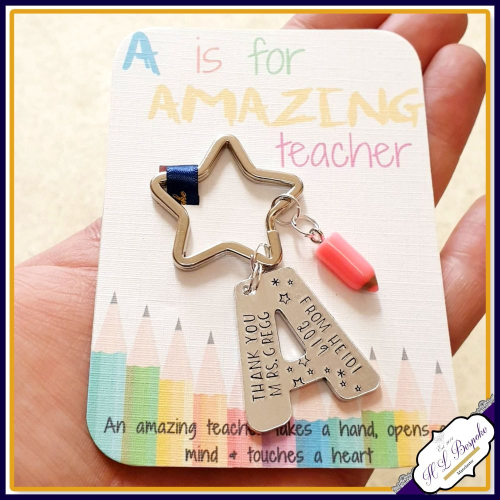 Personalised Amazing Teacher Gift - Keyring for Amazing Teacher - A Is for