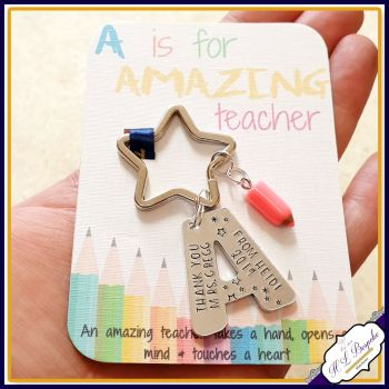Personalised Amazing Teacher Gift - Keyring for Amazing Teacher - A Is for Amazing Teacher - Teacher Keyring - Gift For Teacher - Kaychain