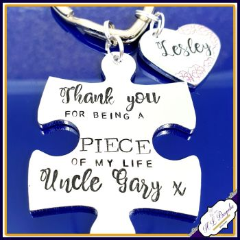 Personalised Uncle Keyring - Puzzle Piece Keyring - Thank You For Being A Piece Of My Life Keychain - Uncle Gift - Custom Wording