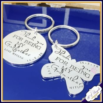 Personalised Godmother AND Godfather Gift - Godmother & Godfather Keyring - Godmother Keychain - Godfather Keychain - Godparent Gifts