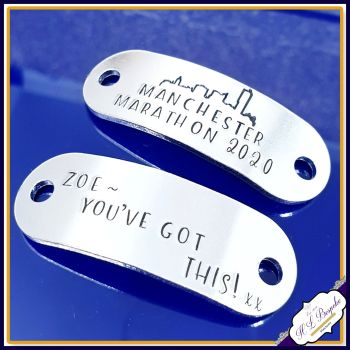 Pair Manchester Marathon Trainer Tags - Manchester Marathon Gift - Personalised Trainer Tags - You've Got This Trainer Tags - Marathon Gift