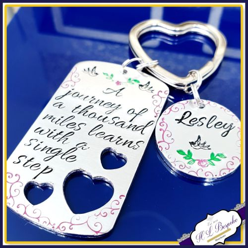 New Journey Keyring - A Journey Of A Thousand Miles Begins With A Single St