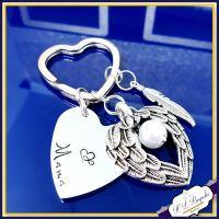 Personalised Memorial Keychain - Bereavement Keyring - Bereavement Gift - In Memory Of Gift - In Memory Of Keyring - Angel Wing Keyring