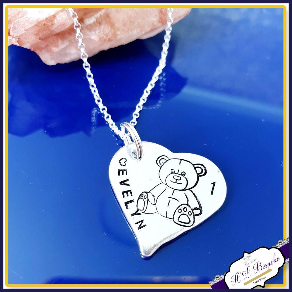 Personalised 1st Birthday Teddy Pendant Keepsake Gift - Special Baby Girl's