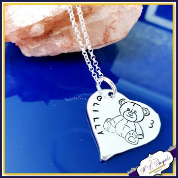 Personalised 3rd Birthday Teddy Pendant Keepsake Gift - Special Baby Girl's Third Birthday Gift - Sterling Silver Teddy Necklace - 1st Birth