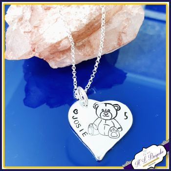Personalised 5th Birthday Teddy Pendant Keepsake Gift - Special Baby Girl's Fifth Birthday Gift - Sterling Silver Teddy Necklace - 1st Birth