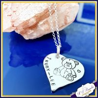 Personalised Heart Christening Teddy Pendant Keepsake Gift - Christening Gift For Girl - Sterling Silver Baptism Jewellery - Special Baptism