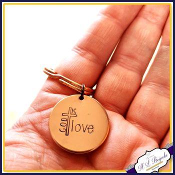 God Is Love Keyring - Religious Prayer Keychain - Christianity Keyring - Christian Religions Gift - Jesus In My Heart Gift - Jesus Keyring