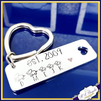 Personalised Elephant Family Keyring - Gift For Elephant Lover - Elephant Keyring - Keyring For Mum - Est Family Gift - Elephant Gift Family
