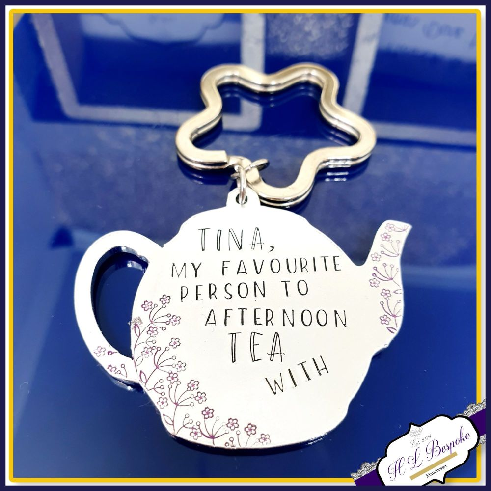 Personalised Teapot Friendship Gift - Afternoon Tea Friend Keyring - Britis