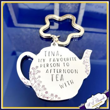 Personalised Teapot Friendship Gift - Afternoon Tea Friend Keyring - British Tea Gift - Best Friend Gift - Friends Who Like Lunching Gift