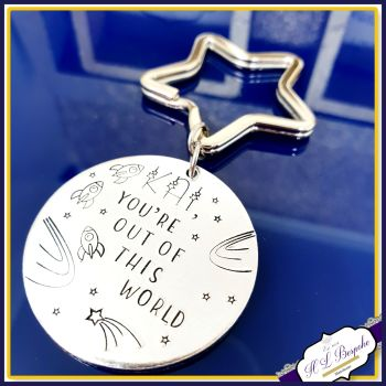 Personalised Science Space Keyring - Out Of This World Valentine's Keyring - Science Valentine's Gift - Geek Gift For Son - Gift For Him