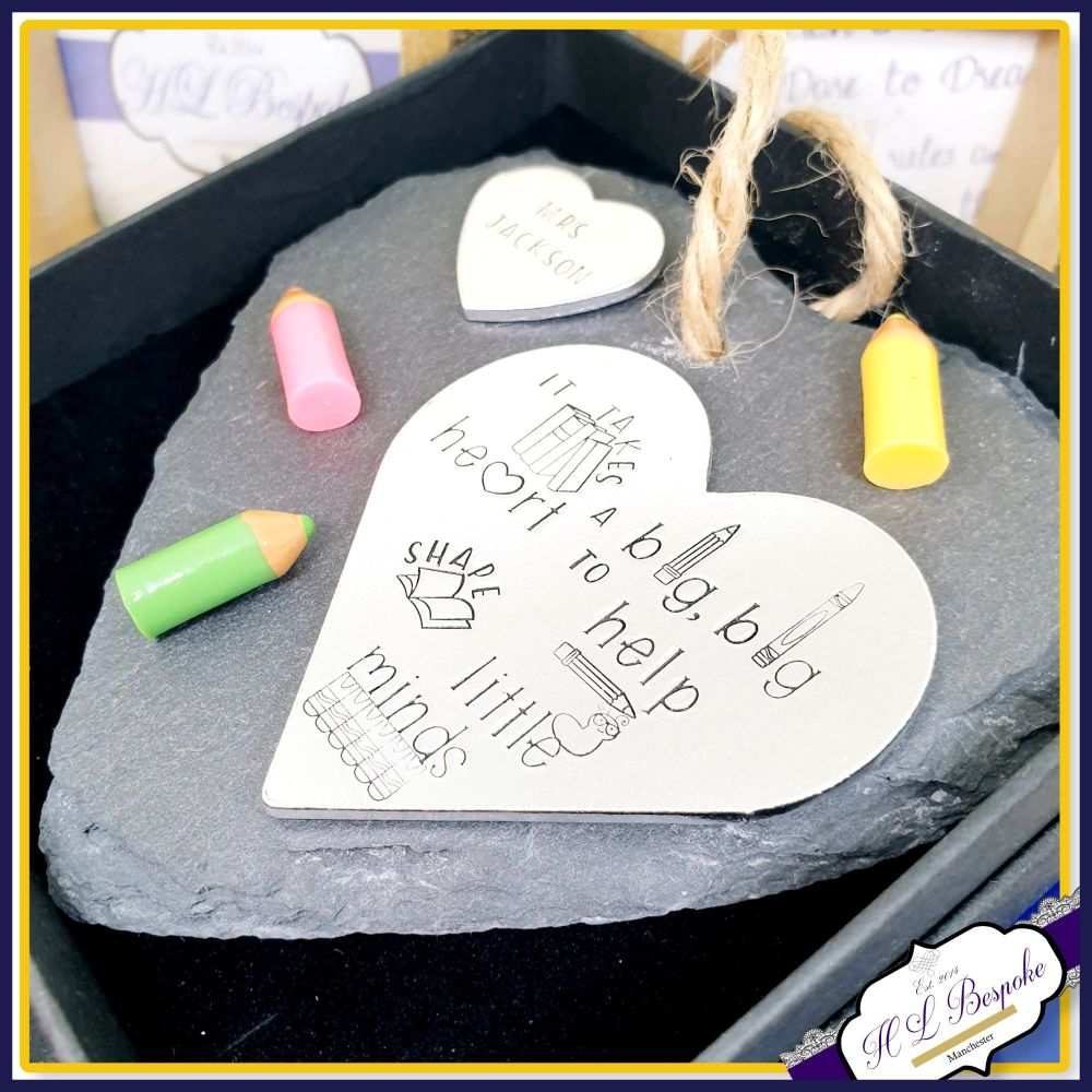 Personalised Teacher Plaque - Slate Plaque For Teacher - Takes A Big Heart