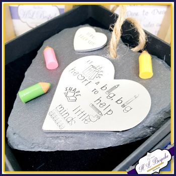 Personalised Teacher Plaque - Slate Plaque For Teacher - Takes A Big Heart To Help Shape Little Minds - Unique Gift For Teacher - Thank You