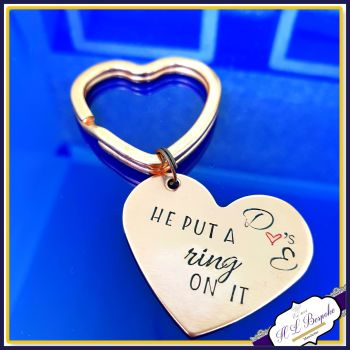 Personalised He Put A Ring On It Gift - Bridal Shower Gift - Put A Ring On It Keyring - Copper Gift For Engagement - Modern Engagement Gift