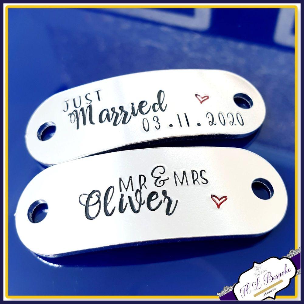 Personalised Wedding Trainer Tags - Custom Wedding Converse Trainer Tags -