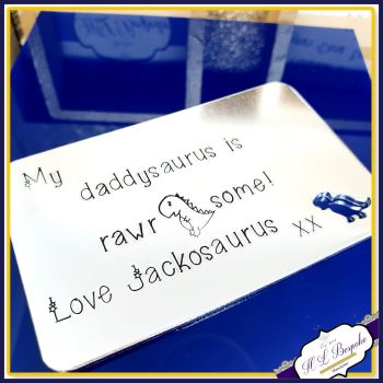 Personalised Daddysaurus Gift - Rawrsome Dad Gift - Dinosaur Gift For Dad - Dino Wallet Insert - Dinosaur Father's Day Gift - Rawr Means I