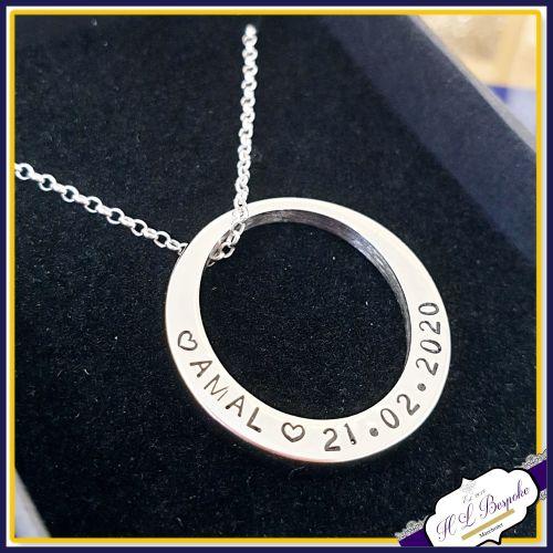 Personalised Washer Pendant - Washer Necklace - Name Necklace - Name Pendan