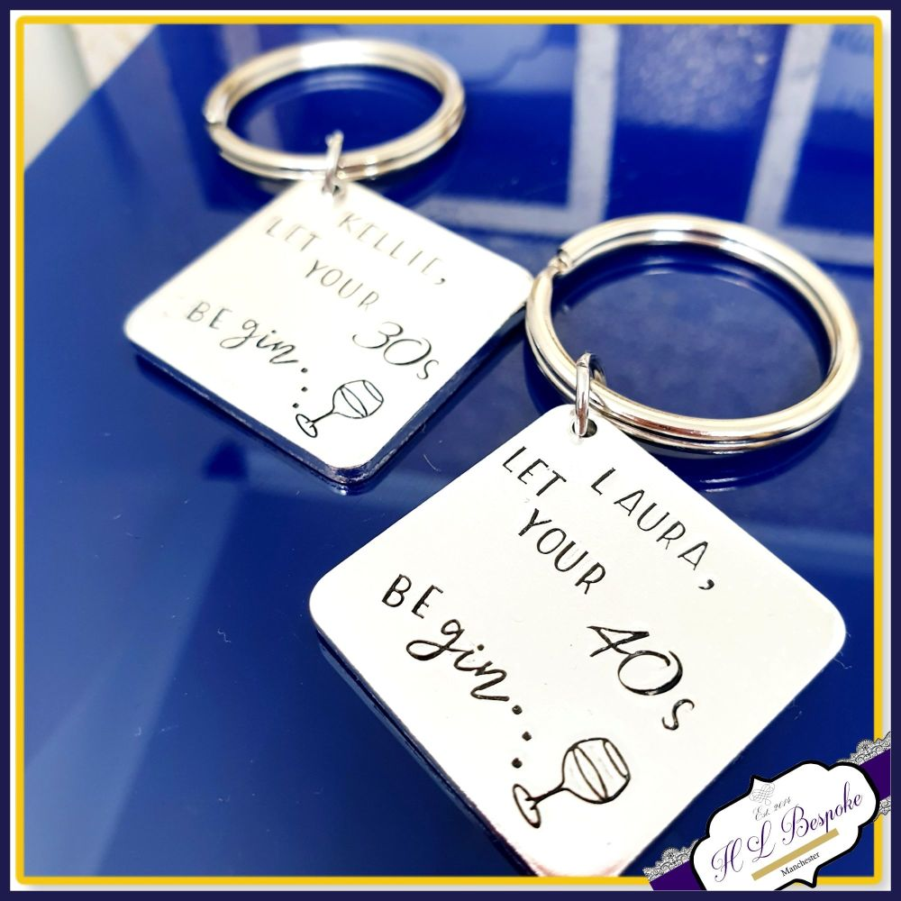 Personalised Gin Birthday Gift - 40th Birthday Gin Keyring - Gift For 40th