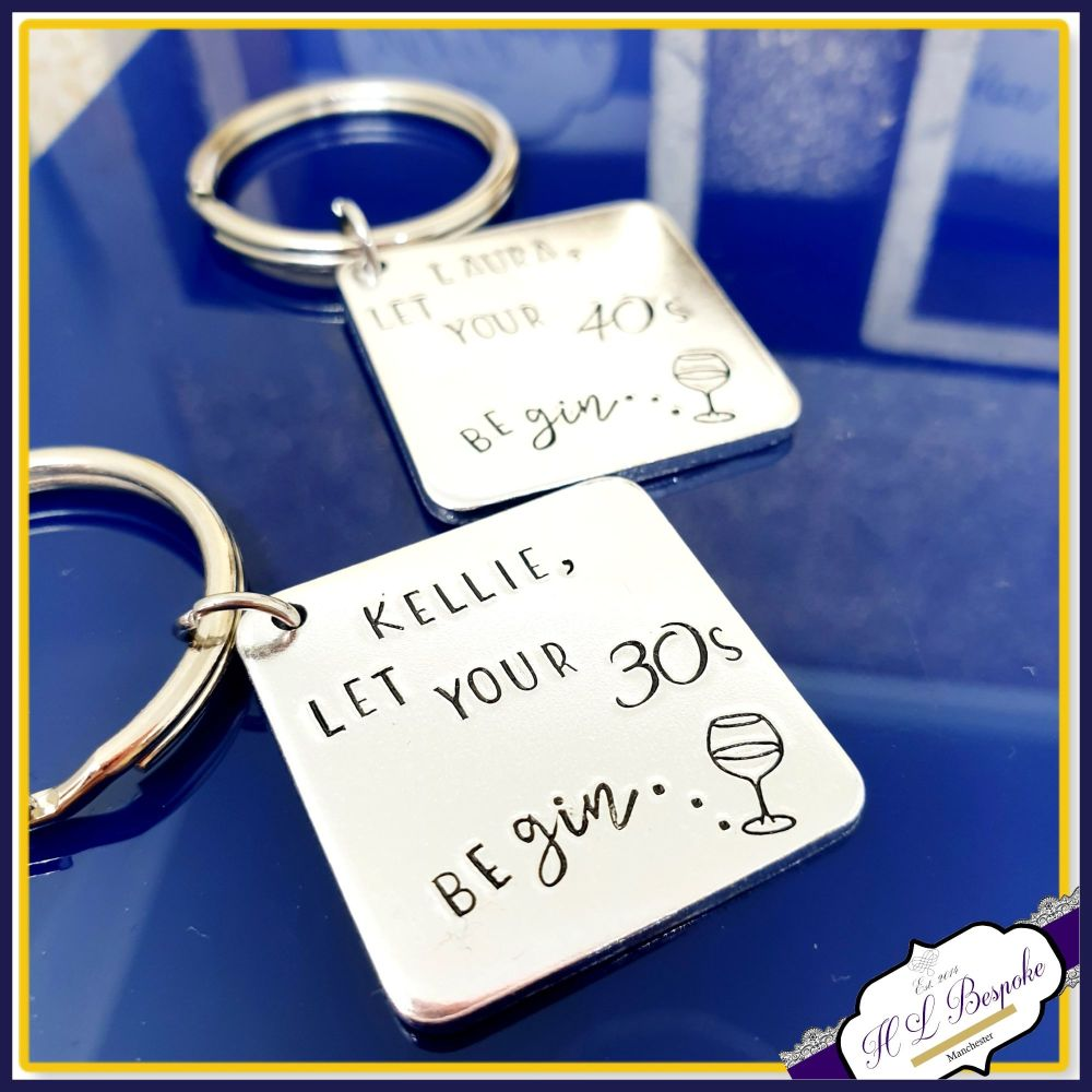 Personalised Gin Birthday Gift - 30th Birthday Gin Keyring - Gift For 30th
