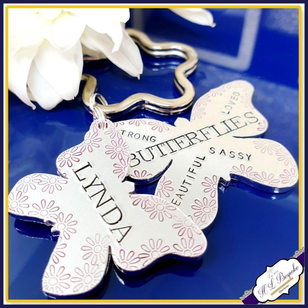 Personalised Butterfly Keyring - Butterfly Keychain - Layered Keyring - Per