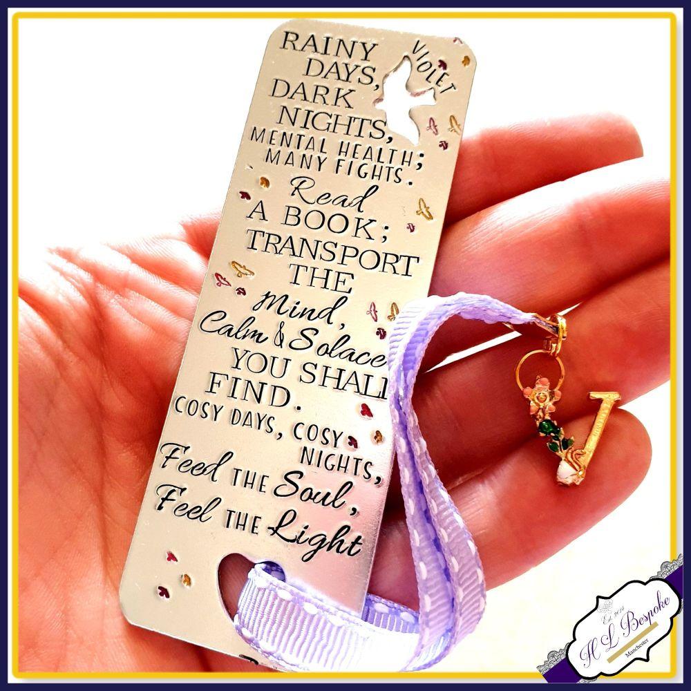 Personalised Bookmark - Mental Health Poem - Custom Bookmark - Bookworm Gif