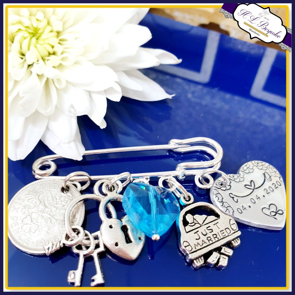 Personalised Something Blue Wedding Garter Charm Pin with Sixpence - Someth