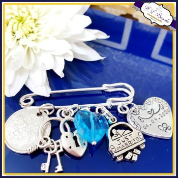 Personalised Something Blue Wedding Garter Charm Pin with Sixpence - Something New For Bride On Her Wedding Day - Lucky Sixpence Keepsake