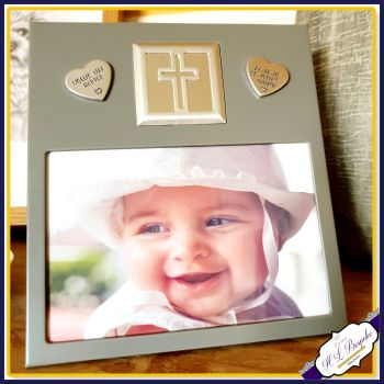 Personalised Christening Photo Frame - Christening Gift With Cross For Baby - Religious Communion Gift - Metal Picture Frame For Baptism