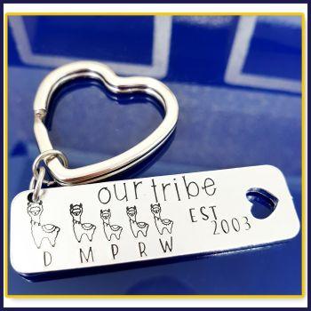 Personalised Llama Family Keyring - Gift For Lama Mummy - Llama Daddy Gift - Family Tree Keychain - Est Family Gift - Cute Llama Gift Family - Our Tri