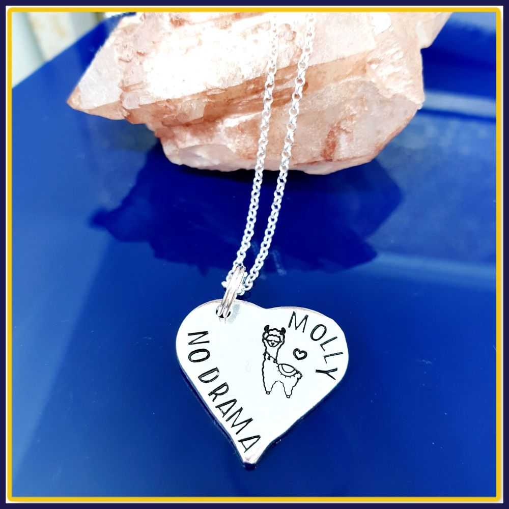 Personalised Sterling Silver Llama Pendant Necklace Gift - Gift For Llama L