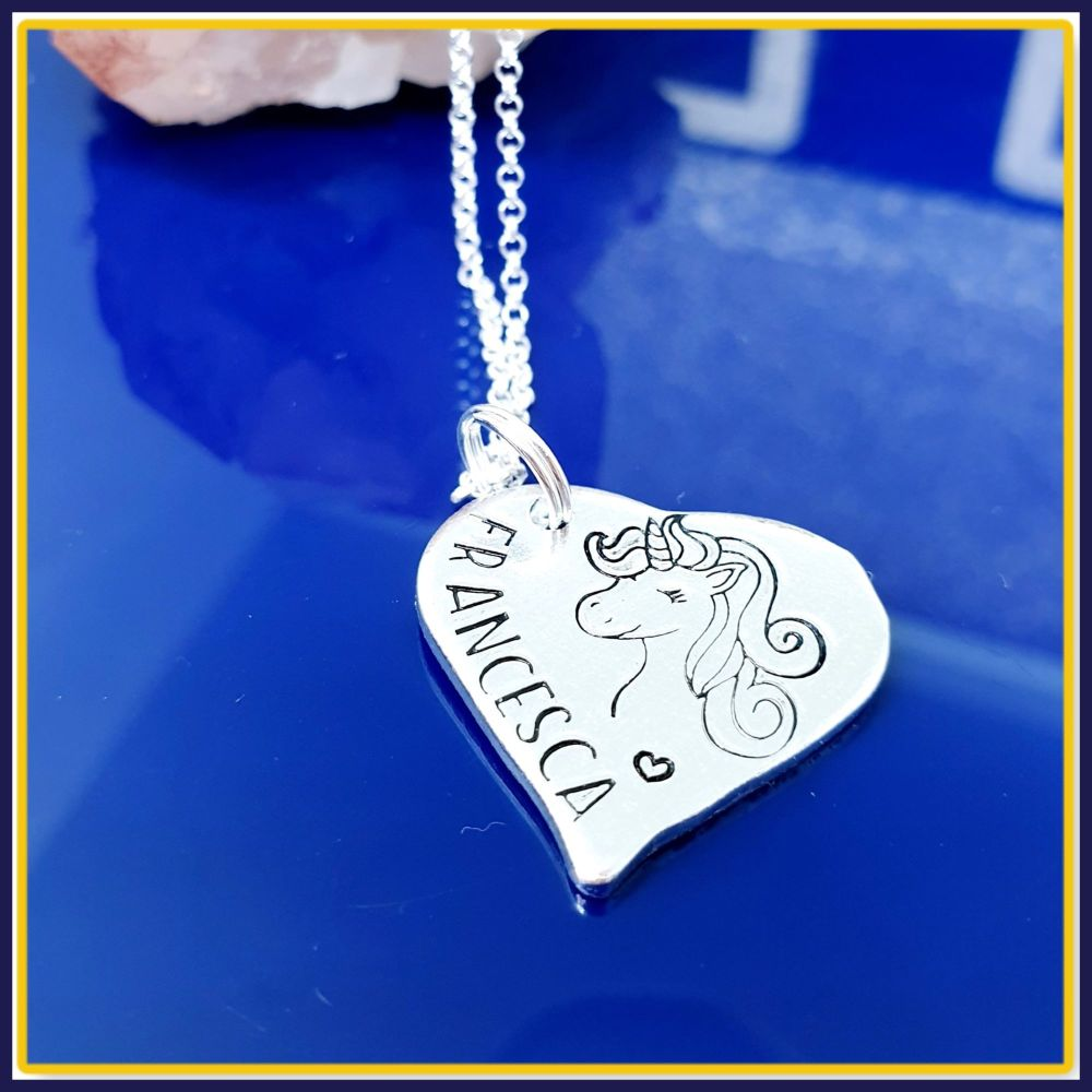 Personalised Sterling Silver Cute Unicorn Pendant Necklace Gift - Gift For
