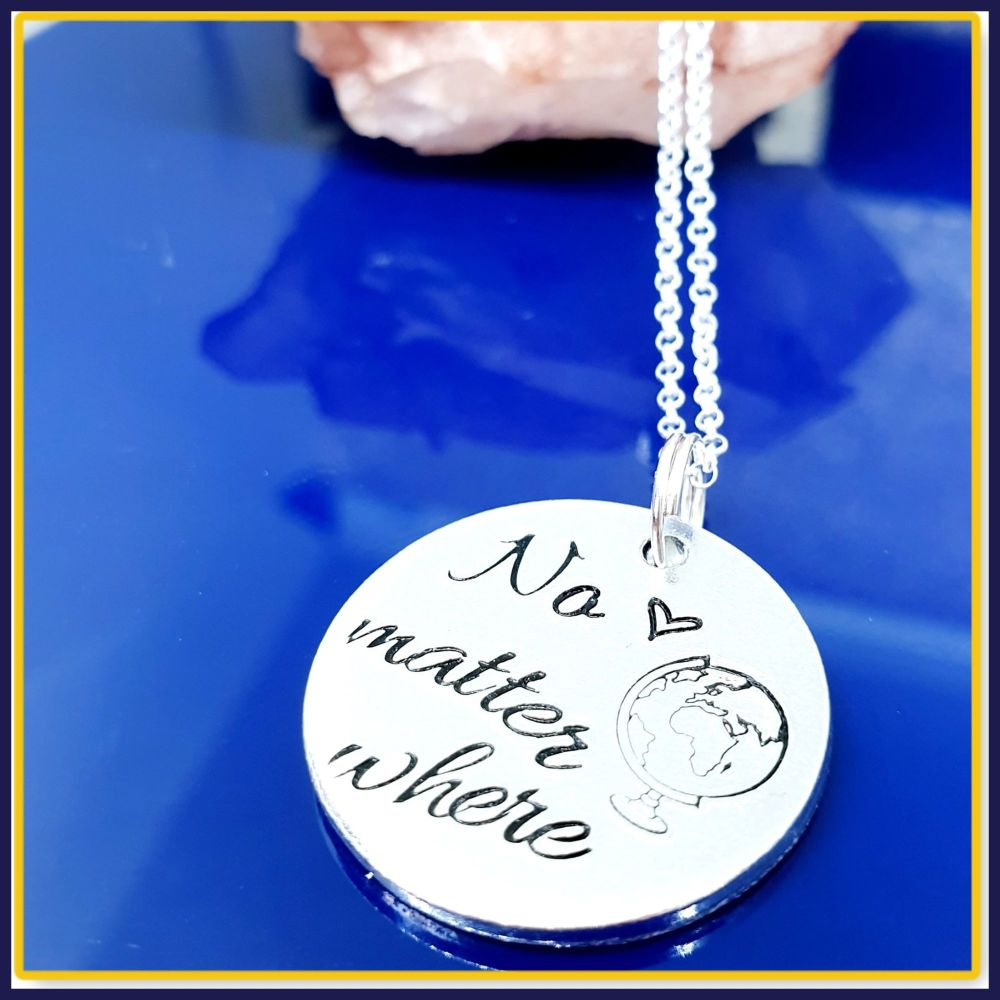 Personalised Sterling Silver Distance Pendant - No Matter Where Jewellery -