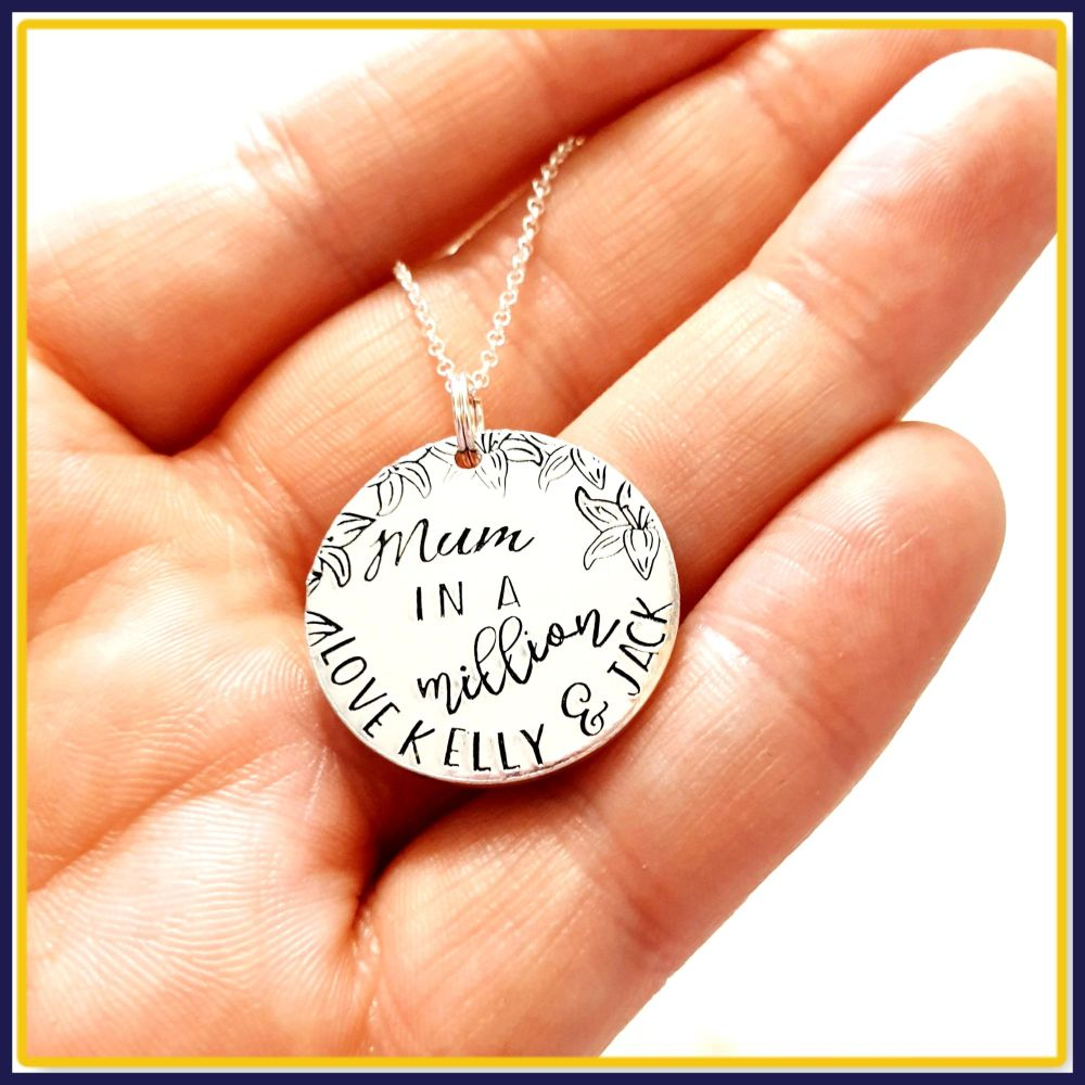 Personalised Sterling Silver Mum In A Million Pendant - Silver Jewellery Fo