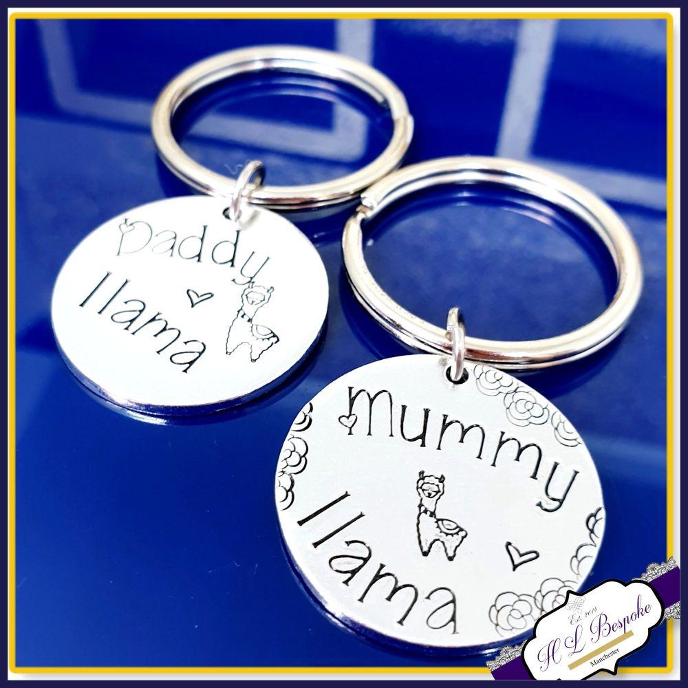 Personalised Mummy Llama Keyring - Gift For Lama Mummy - Llama Daddy Gift -