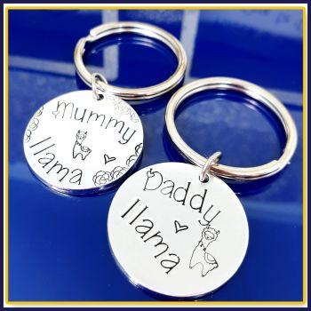 Personalised Daddy Llama Keyring - Gift For Lama Daddy - Llama Mummy Gift - Daddy Llama Keychain - Mummy Llama Gift - Cute Llama Gift Family