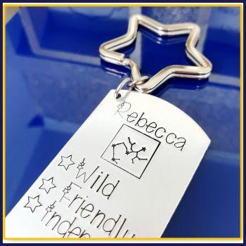Personalised Zodiac Personality Keyring With Constellation - Custom Zodiac Keyring - Constellation Gift - Horoscope Gift - Zodiac Character