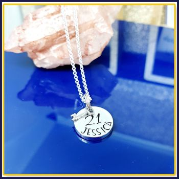 Personalised Sterling Silver 18th Birthday Pendant Necklace With Key To The Door - Jewellery For 18th Birthday - Sweet 16th Birthday For Her