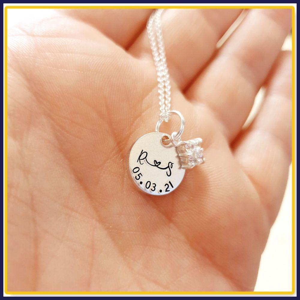 Personalised Cubic Zirconia Pendant Necklace For Wedding Day - Bride Weddin