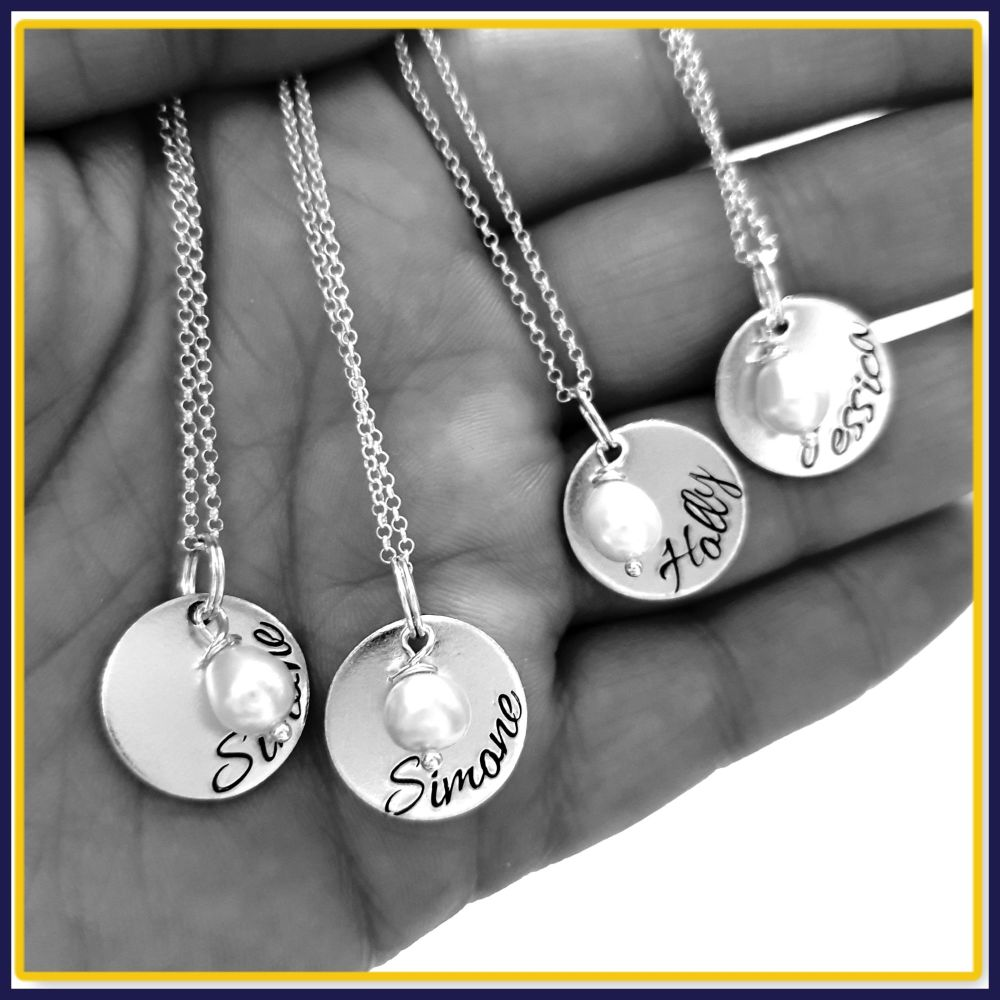 Personalised Sterling Silver Bridesmaid Wedding Day Pendant Necklace With P