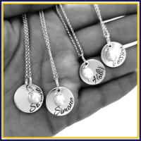 Personalised Sterling Silver Bridesmaid Wedding Day Pendant Necklace With Pearl - Custom Jewellery Set For Bridesmaids - Maid Of Honour Gift