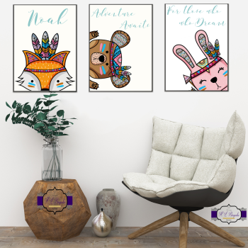 Adorable Personalised Nursery Decor Unisex - Tribal Character Decor For Nursery Walls - Prints For Baby Boy Bedroom - Little Man Cave Decor