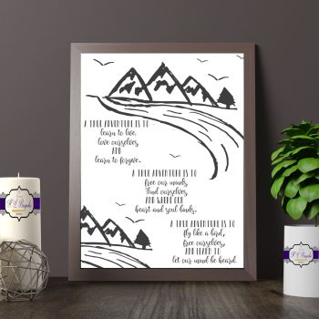 Adventure Print - Adventure Poem - A True Adventure  Art - A True Adventure Poem - Free Yourself - Love Yourself - Find Yourself - Unframed