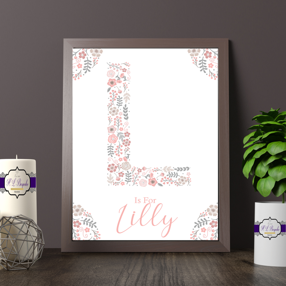 Personalised Pink Floral Letter Print For Baby Girl Nursery - Is For Monogr
