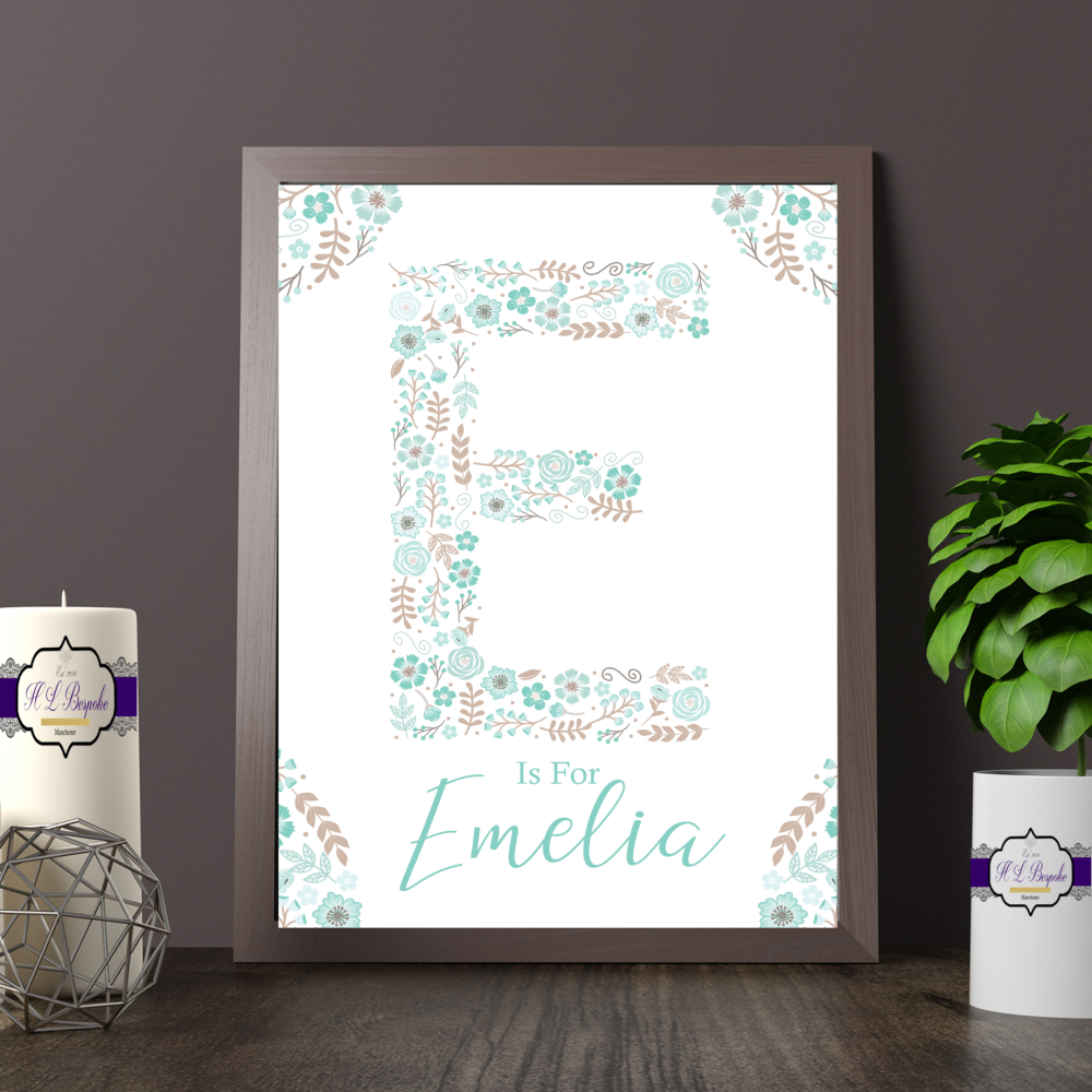 Personalised Mint Green Floral Letter Print For Baby Girl Nursery - Is For